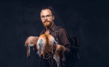 Portrait of a redhead hipster guy in glasses dressed in a brown shirt, holds the fox skin, posing at a studio. Isolated on a dark background.
