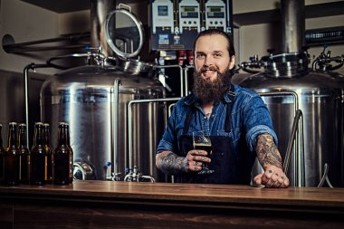 Smiling bearded tattooed hipster male in a jeans shirt and apron working in a brewery factory, standing behind a counter, holds a glass of beer for quality control. stock vector