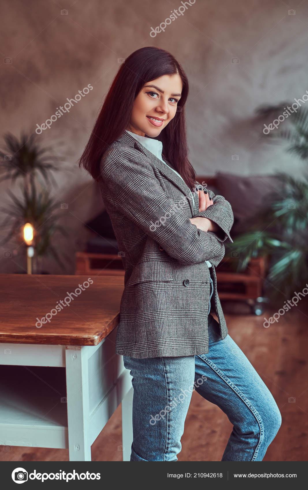 7d84f2164 Portrait Happy Young Brunette Woman Dressed Gray Elegant Jacket ...