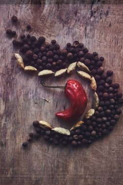 The composition of black pepper, beans and one red pepper in the middle, on a wooden background. stock vector
