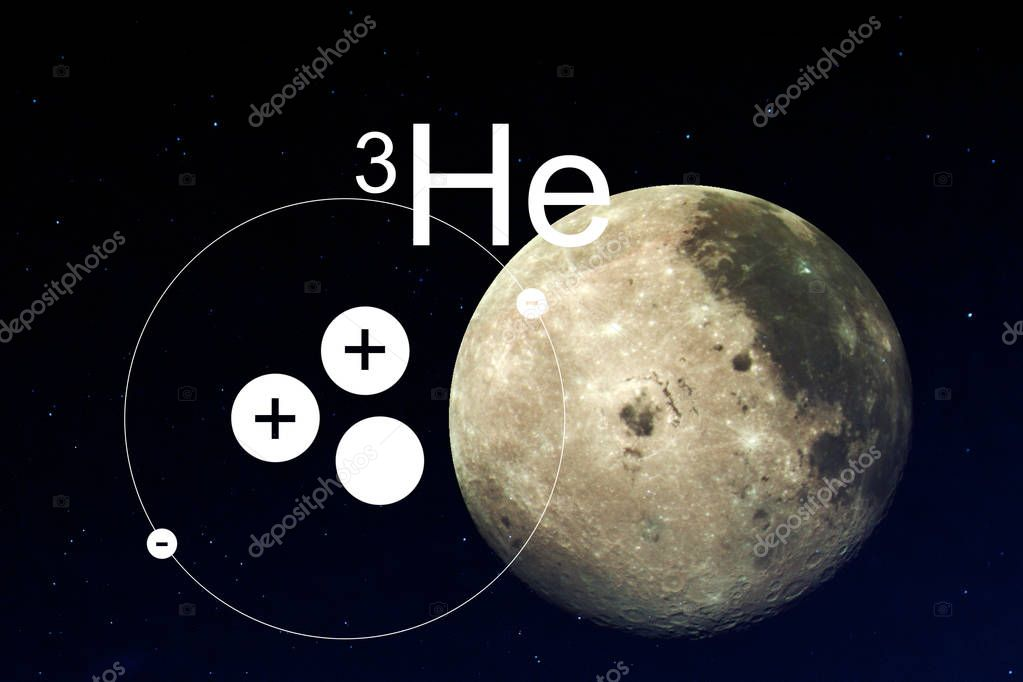 Moon and Helium 3, the model of the atom against the moon.