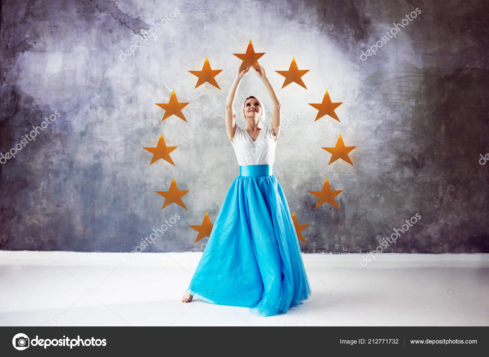 Symbol Of Unity Of Different European Countries Young Woman Touch