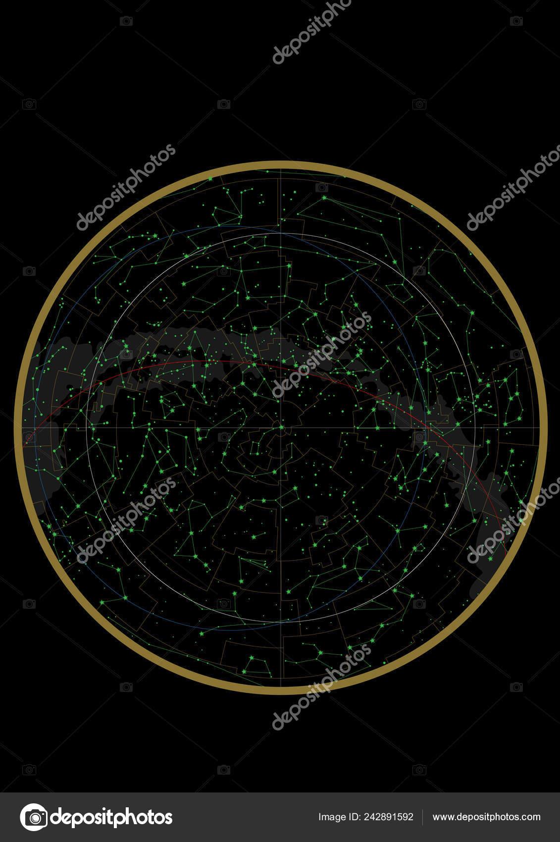 Northern Hemisphere Constellations Star Map Science Astronomy