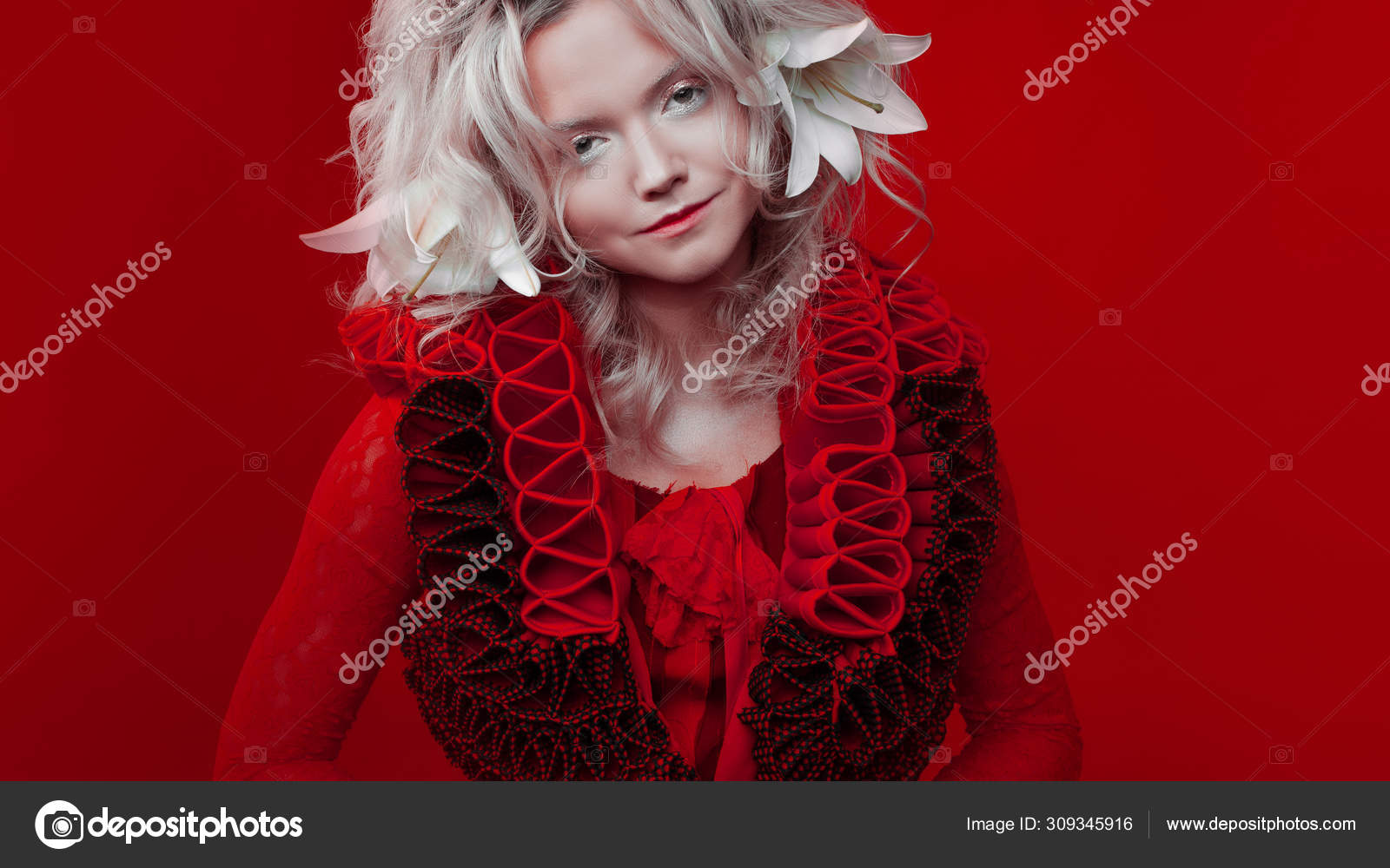 Shades Of Red Portrait Of A Bizarre Attractive Blond Woman With Fashion Makeup In Red Fantasy Outfit Zigzag Collar Stock Photo C Kriscole 309345916