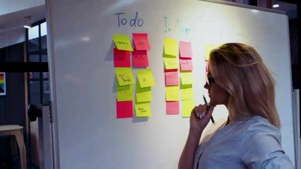 Řízení projektu a plánování plánu, koncepce. Mladá žena.