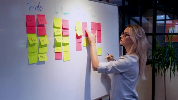 Project management and schedule planning, concept. A young woman