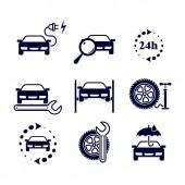 Autotankstelle. Set von 9 monochromen Vektorsymbolen