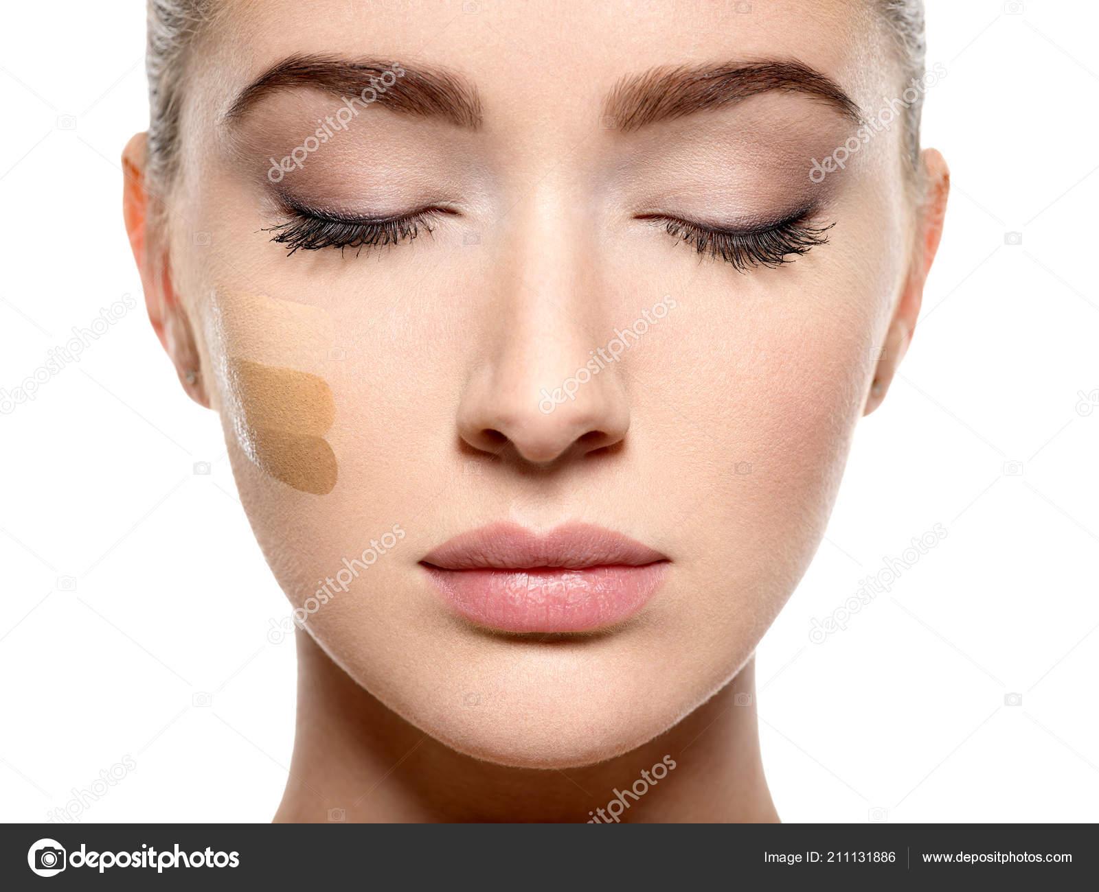 Closeup Face Young Woman Cosmetic Foundation Skin Beauty