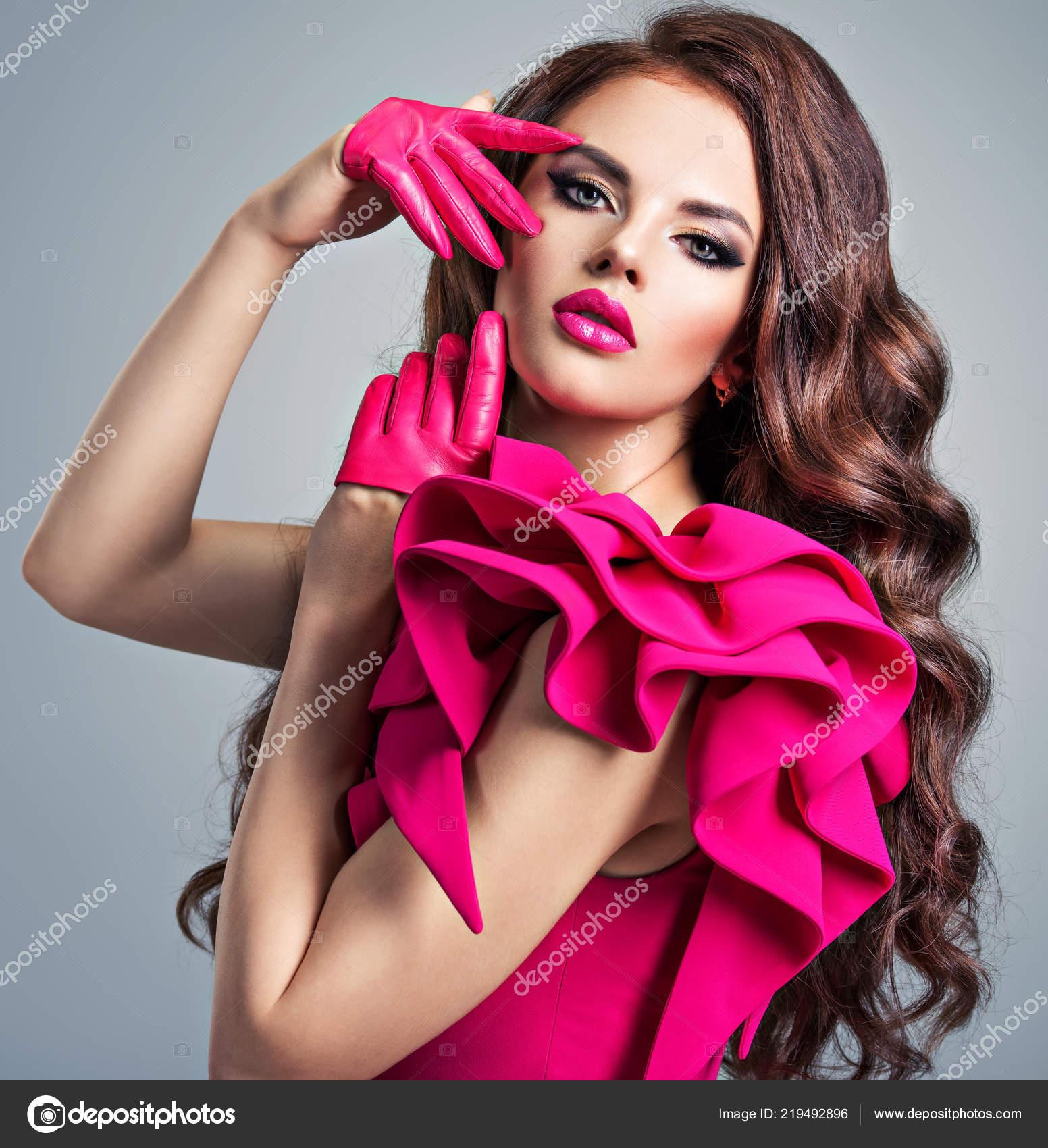 Fashionable Woman Red Dress Creative Eye Makeup Closeup Portrait