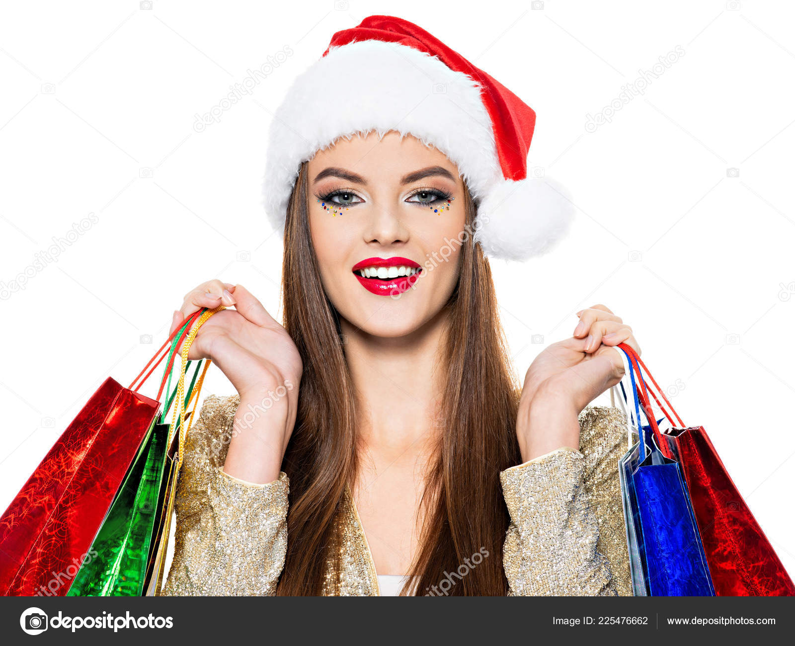8f5df6aebb777 Smiling Woman Santa Hat Holding Colorful Shopping Bags — Stock Photo ...