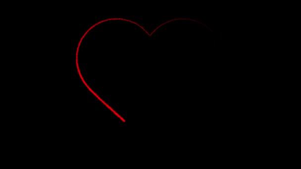 Animace, červené srdce na černém pozadí