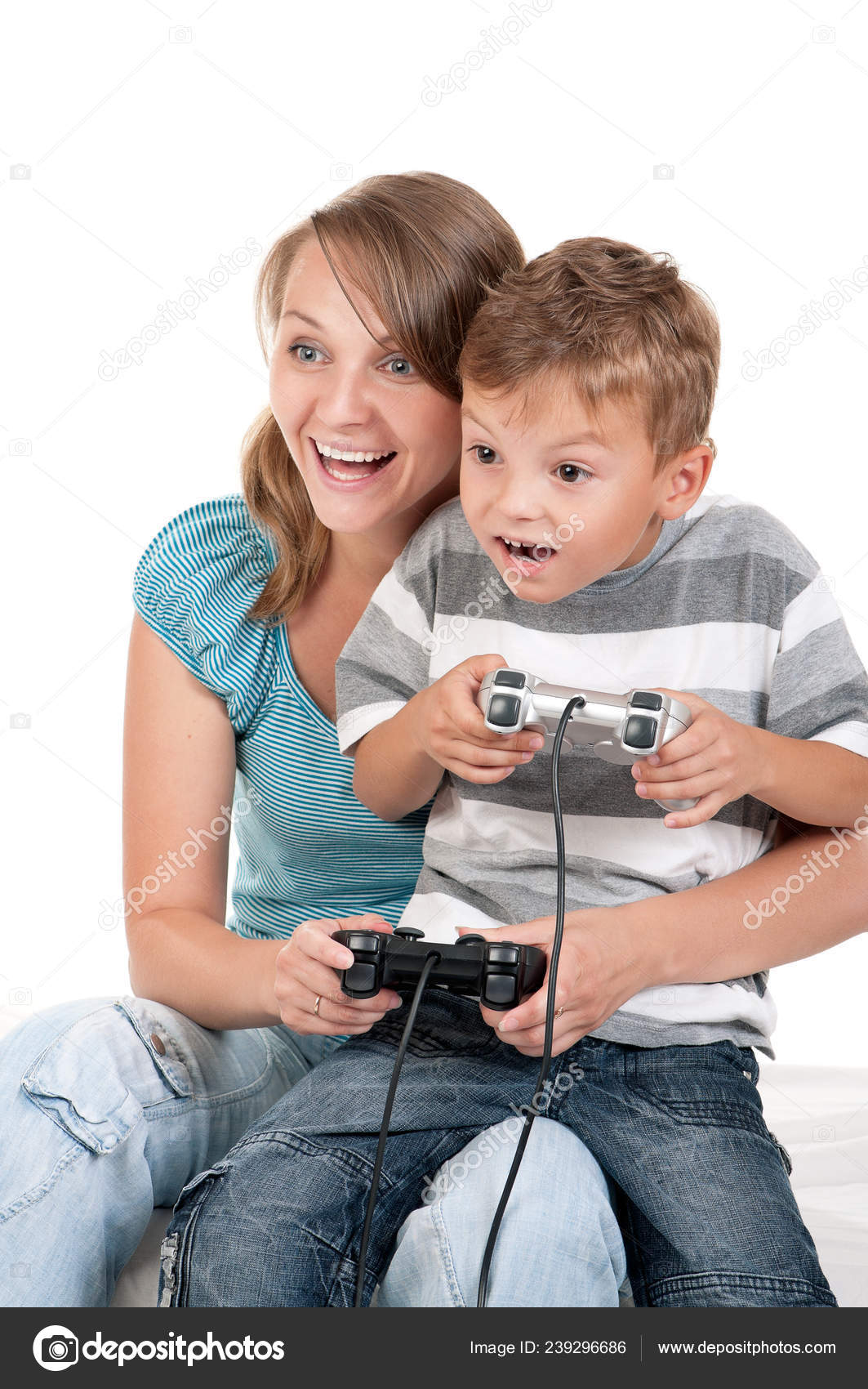 Mom Son Holding Joysticks Playing Video Games Console Together