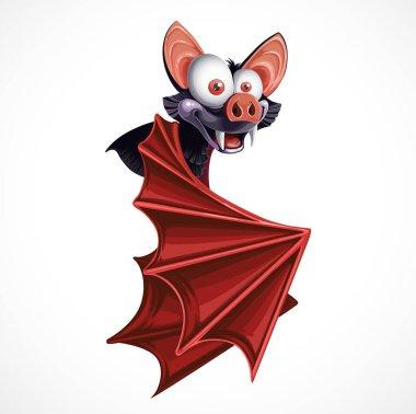 Cute cartoon flying  Bat  isolated on white background