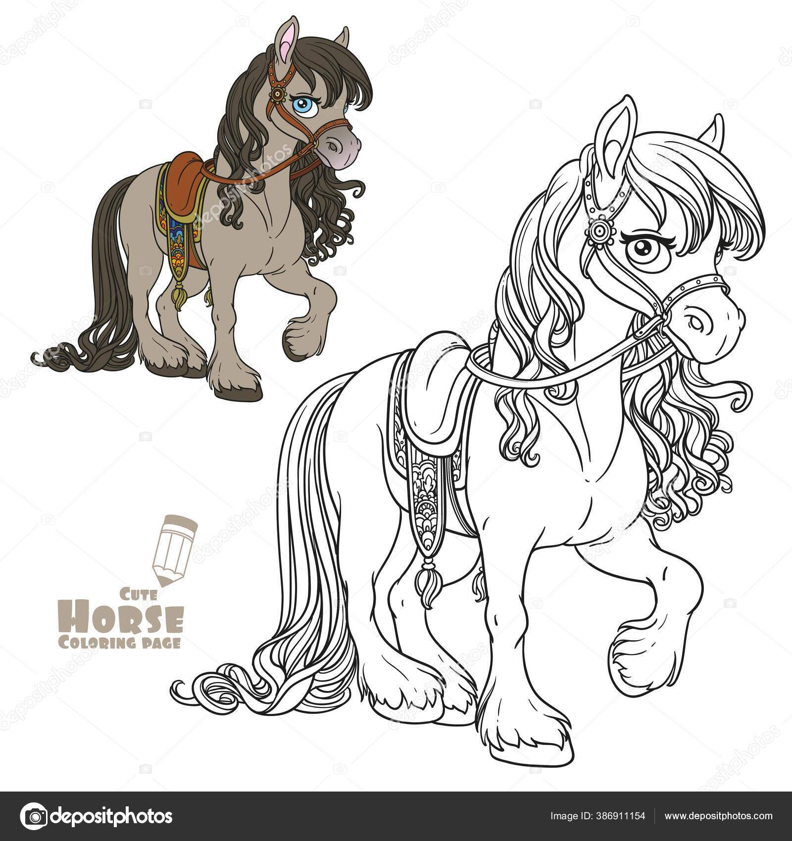 Cute Horse Lush Mane Harnessed Saddle Color Outlined Picture Coloring Stock Vector C Yadviga 386911154