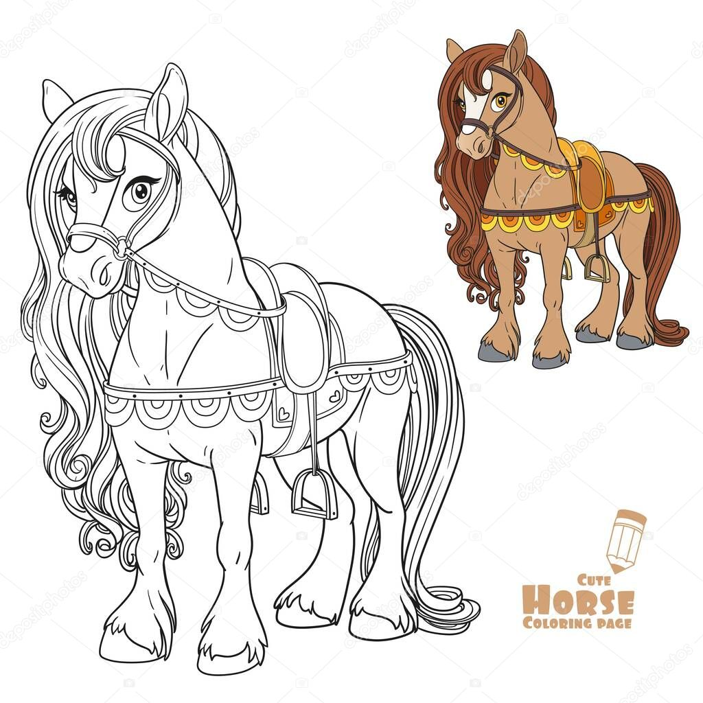 Cute Horse Harnessed To A Saddle Color And Outlined Picture For Coloring Book On White Background Premium Vector In Adobe Illustrator Ai Ai Format Encapsulated Postscript Eps Eps Format