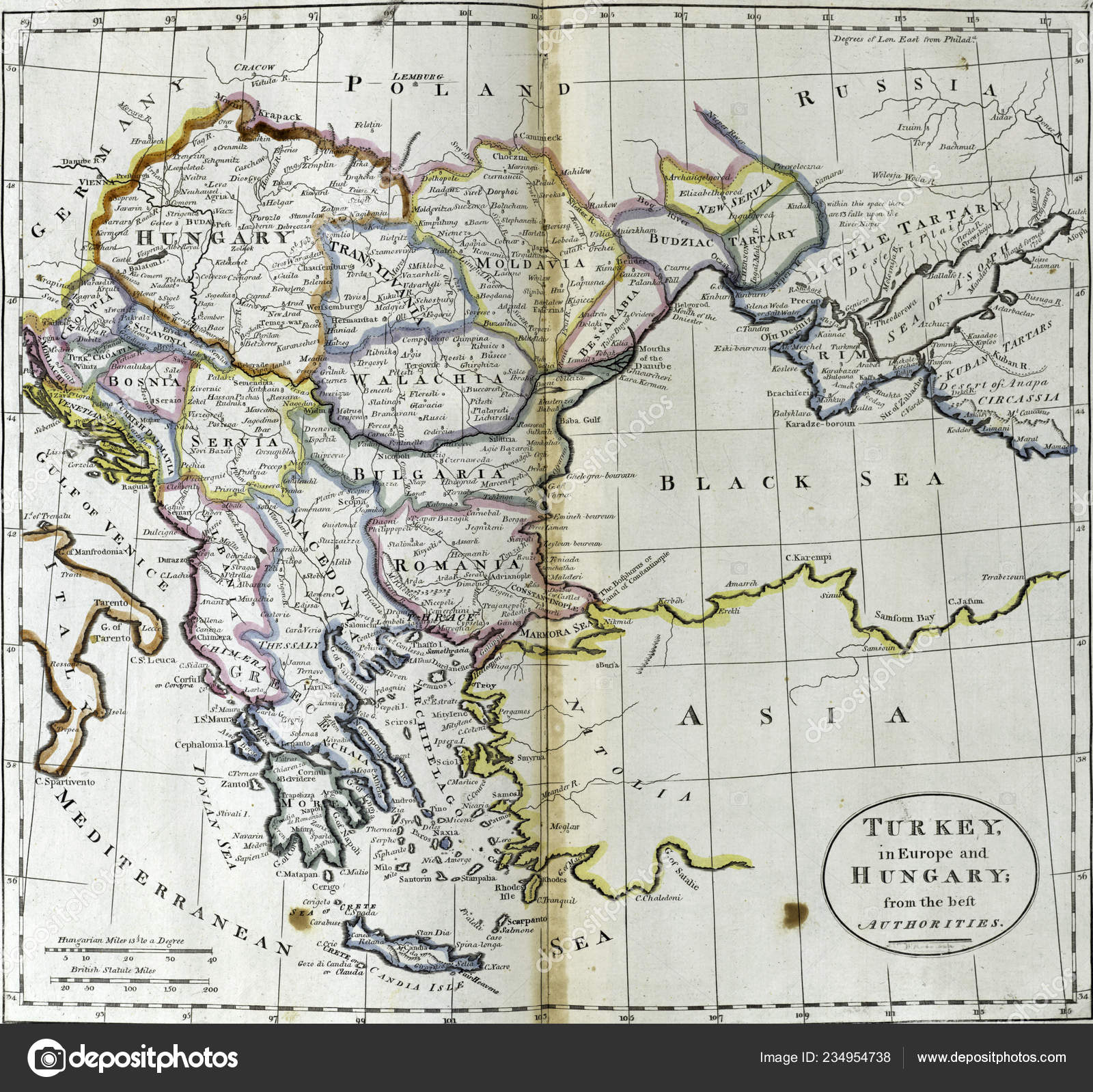 Image of: Antique Map Turkey Europe Hungary 18th Century Atlas Creator Carey Stock Editorial Photo C Cascoly 234954738