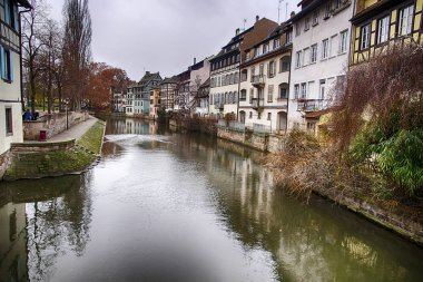 Half timbered houses on a canal