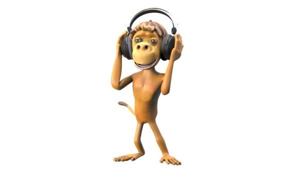 3D animace opice tančí v sluchátka s alfa kanálem