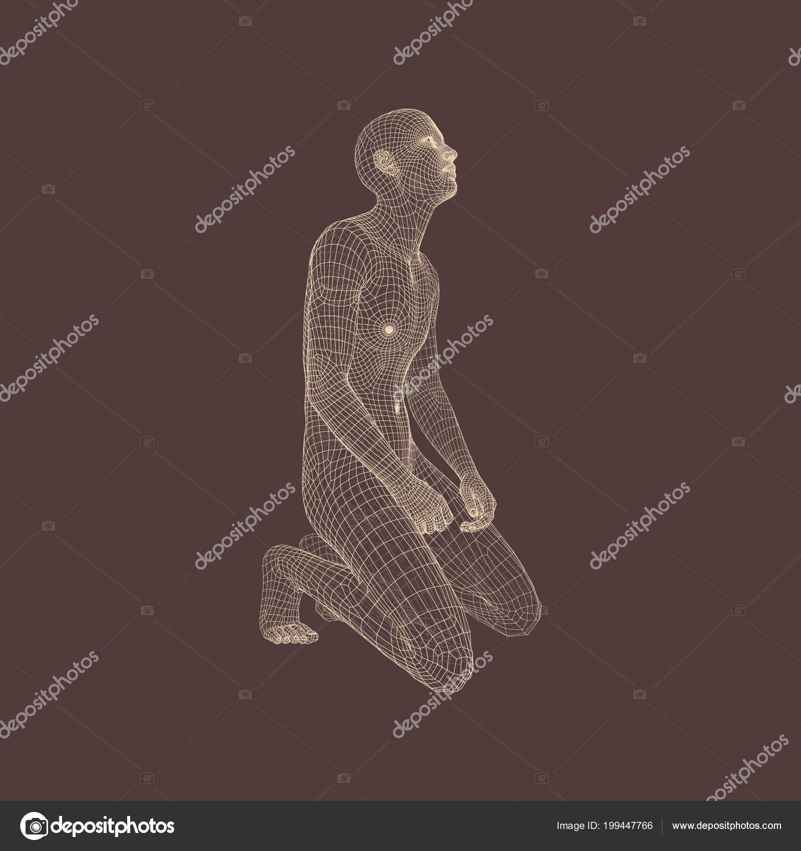 Man Kneeling Praying God Human Body Model — Stock Vector