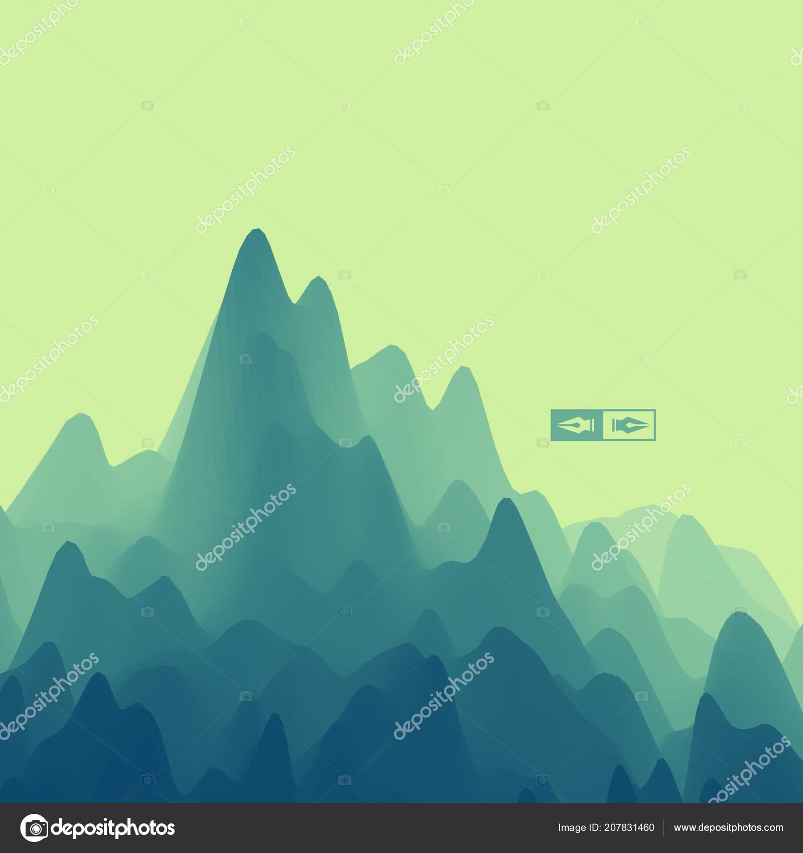 Paisaje Montaña Terreno Montañoso Ilustración Vector Resumen ...