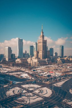 Warsaw, Poland, February 24, 2018: view of the Palace of Culture and Science and the business center of the city on a frosty winter morning from the window of the Novotel Hotel