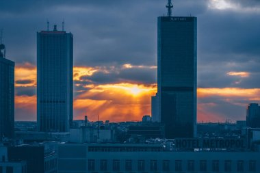 Warsaw, Poland, February 24, 2018: view of downtown at sunset