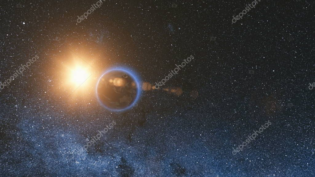 Space view on Planet Earth and Sun in Universe