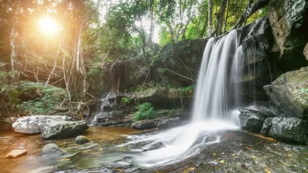 Beautiful mountain waterfall in the jungle forest