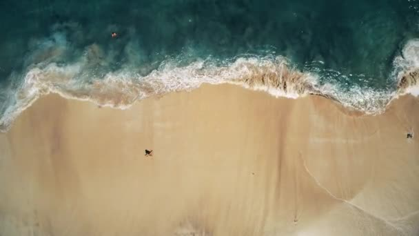 Aerial Top View, Ocean Waves and White Sand Beach