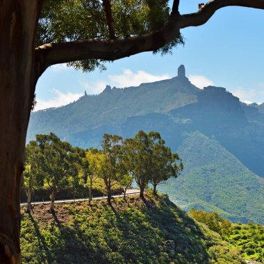 Landscape with the symbol of the Gran Canaria island - Roque Nublo (rock in clouds) is an ancient and sacred place of worship and main tourist attraction