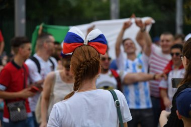 World Cup 2018, football fans from different countries on the Nikolskaya streets of Moscow. FIFA world cup, Mundial 2018.