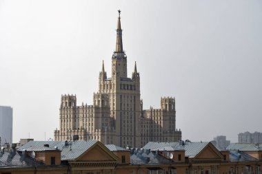 Moscow skyline. The Ministry of Foreign Affairs of Russia main building stalinist skyscraper shown during summer rain. Capital of Russia
