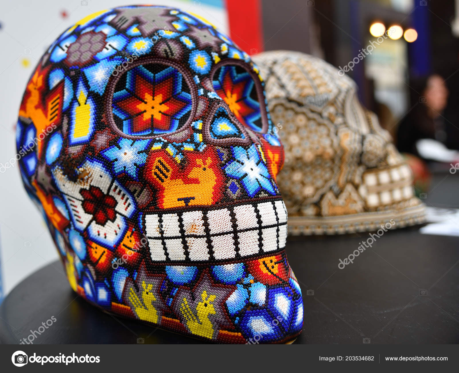 Colourful Skull From Mexican Traditional Huichol Bead Art Symbol Of The Day Dead Dia De Los Muertos Photo By Znm666