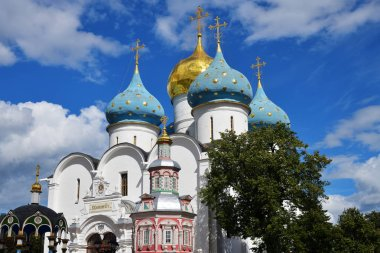 Assumption Cathedral in The Trinity Lavra of St. Sergius. The most important Russian monastery and the spiritual centre of the Russian Orthodox Church in the town of Sergiyev Posad