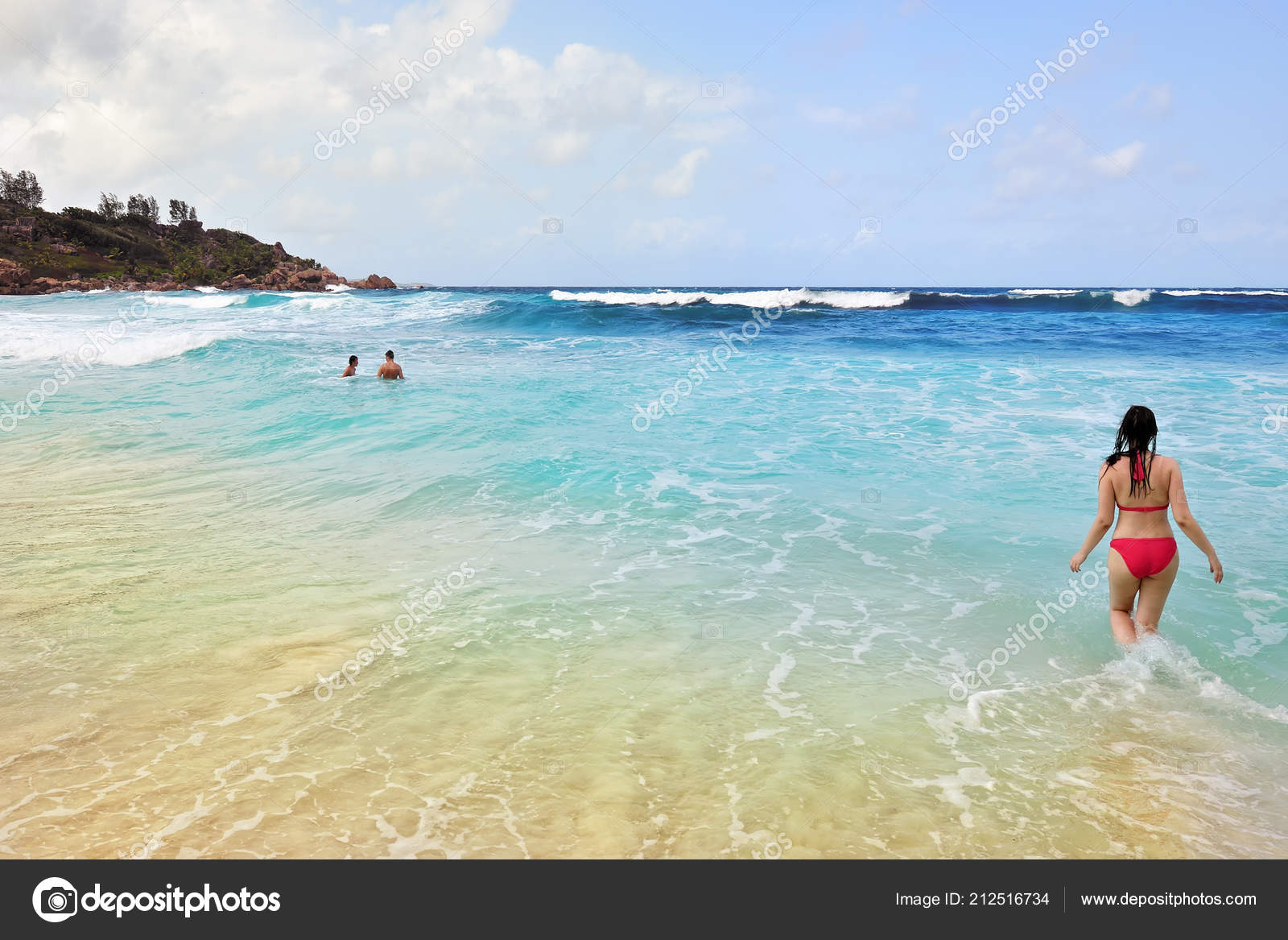 People Beautiful Sandy Beach Seychelles Digue Anse Cocos