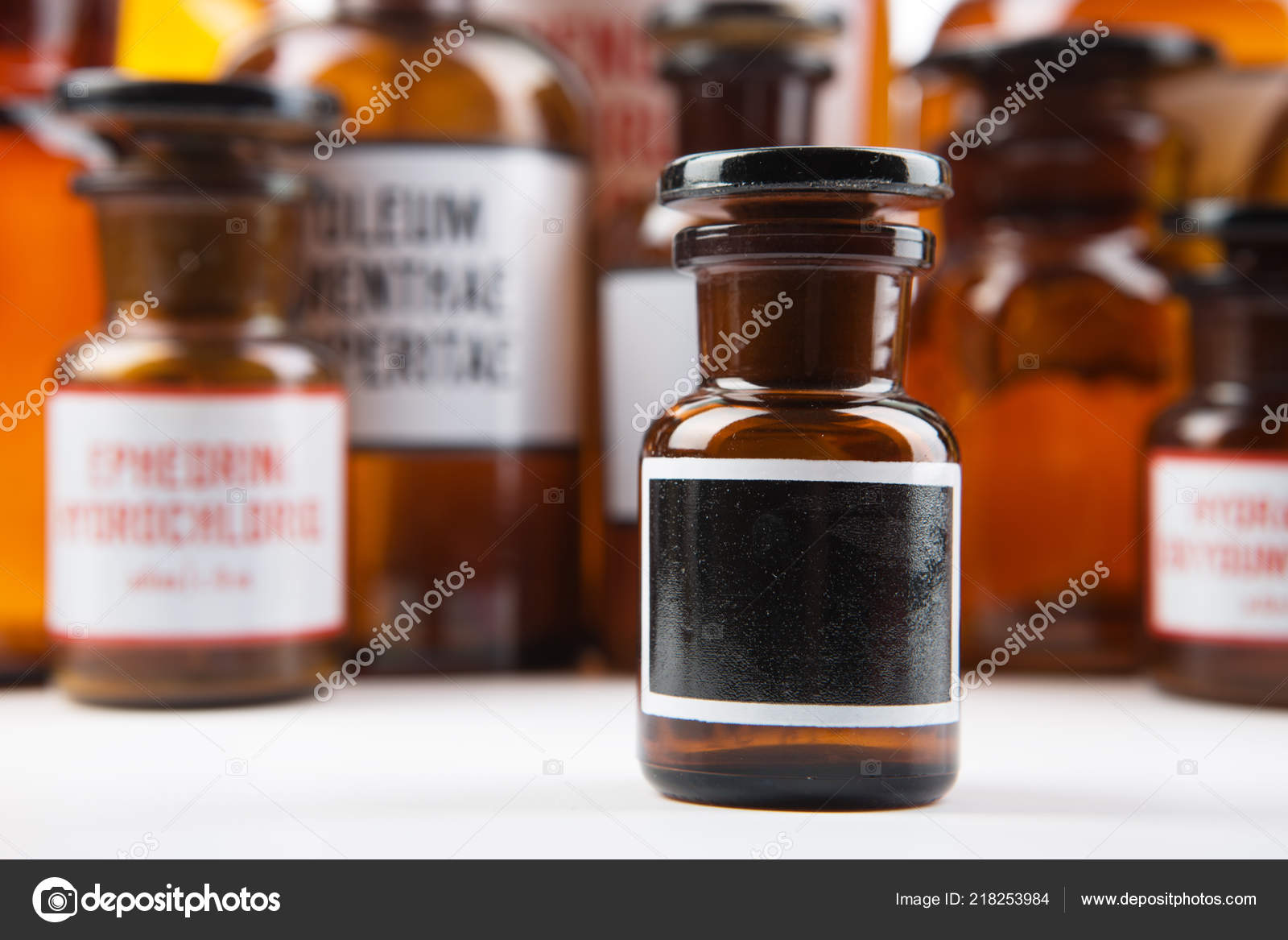 Vintage Medicine Bottle Blank Label Pharmacy Stock Photo