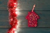 Fotografie Rustikální Vánoční pozadí - vintage klády dřeva se světly a volná místa