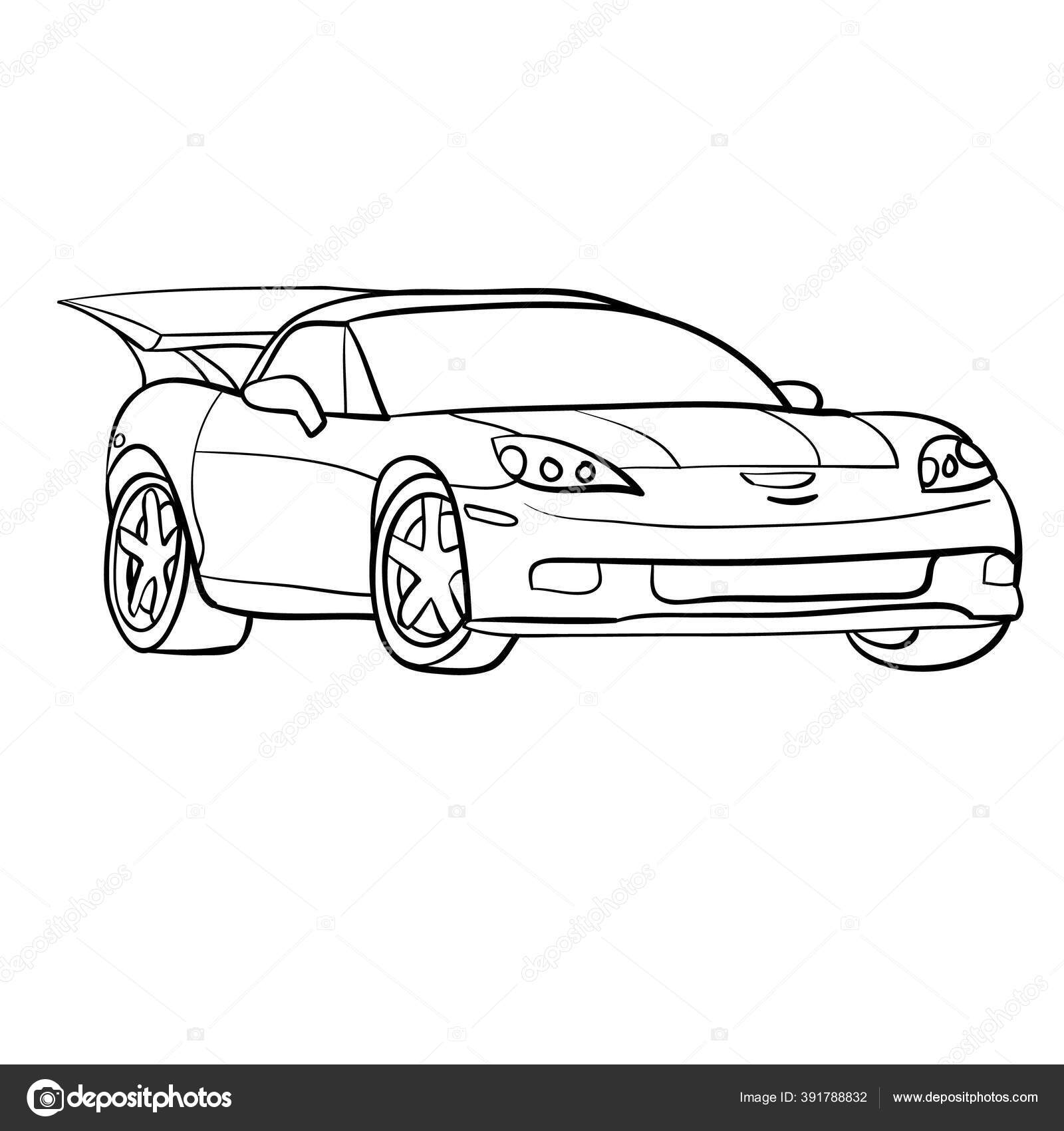 Sketsa Mobil Balap Kapal Buku Mewarnai Objek Terisolasi Latar Belakang Stok Vektor C Kopirin 391788832