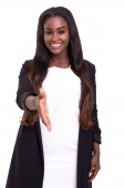 Photo african businesswoman offering handshake isolated on white background
