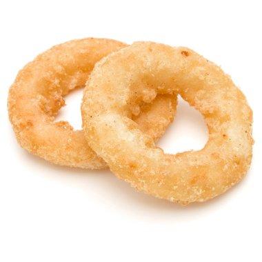 Crispy deep fried onion or Calamari ring isolated on white backg