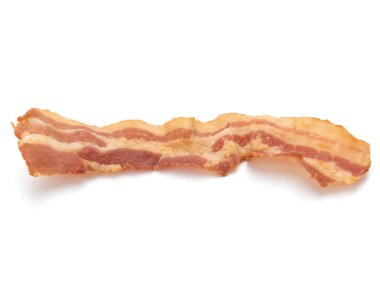 Cooked crispy slice of bacon isolated on white background stock vector