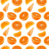 Orange fruit seamless pattern. Orange segments isolated on white