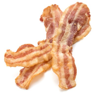 Cooked crispy slices of bacon isolated on white background stock vector