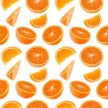 Orange fruit seamless pattern. Orange segments isolated on white background. Food background. stock vector