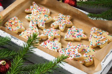 Gingerbread cookies on a wooden tray