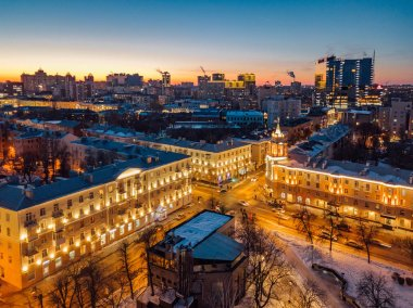 Night Voronezh downtown district. Aerial panoramic view taken by