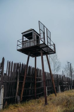 Old observation tower in abandoned Soviet Russian prison complex