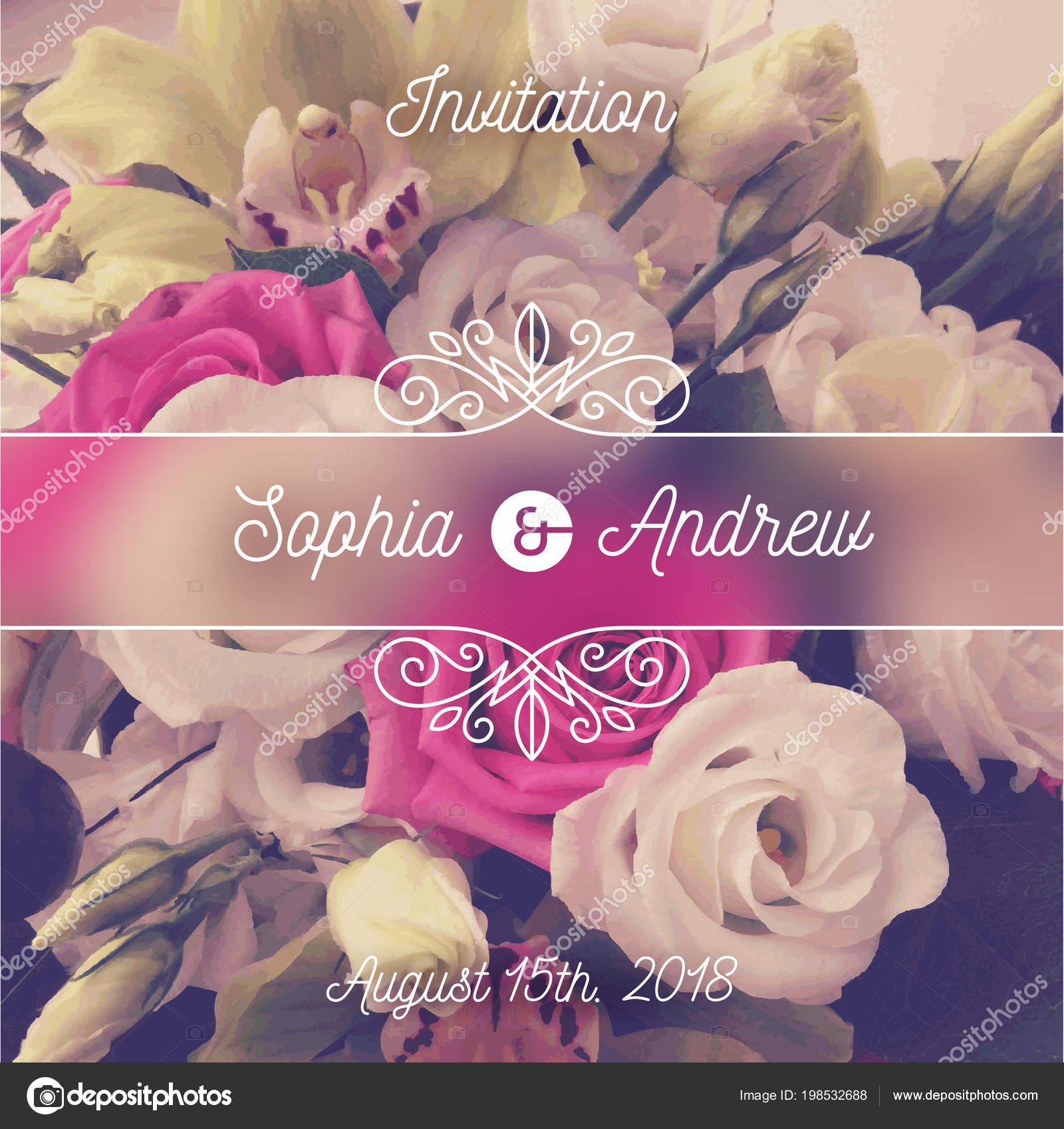 Invitación Boda Tarjeta Felicitación Con Flores Elementos