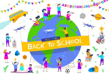 Back to school vector illustration. Group of active children around a giant globe. Children characters doing different activities liking  studying, reading, explore and  recreation