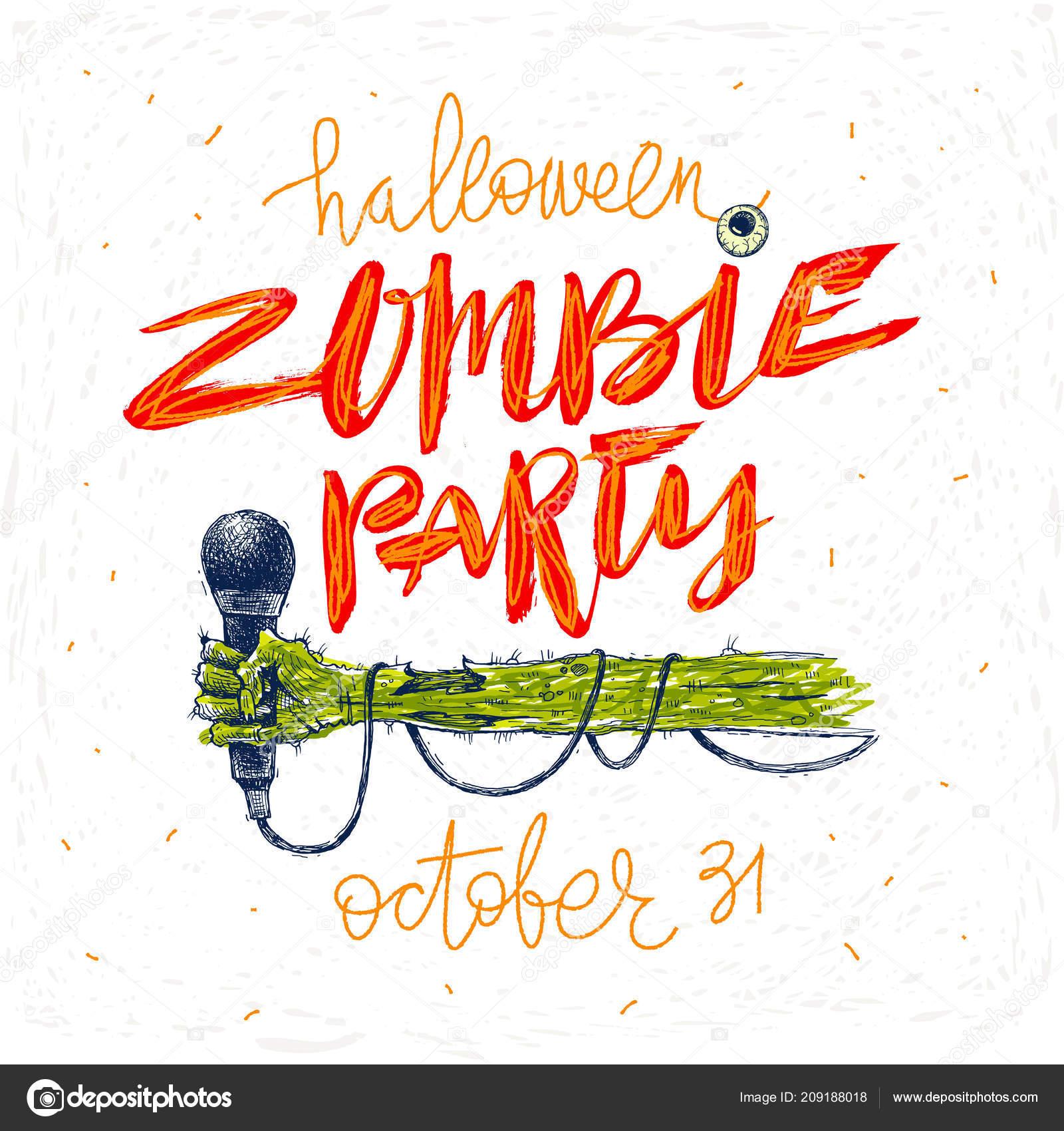 Fiesta Zombie Ilustración Vectorial Tarjeta Felicitación